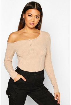 Womens Camel Soft Rib Assymetric Off The Shoulder Bodysuit