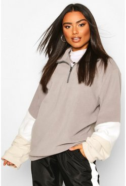 Grey Fleece Colour Block Zip Oversized Sweat