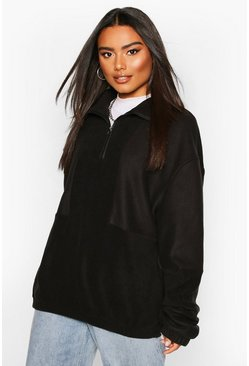 Fleece Funnel Zip Oversized Sweat, Black, Donna