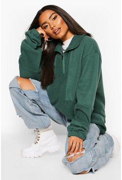 Forest Fleece Funnel Zip Oversized Sweat