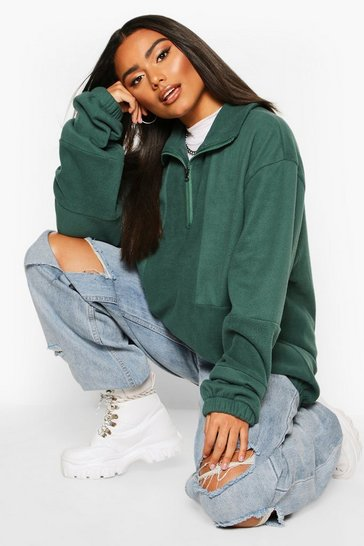 Womens Forest Fleece Funnel Zip Oversized Sweat
