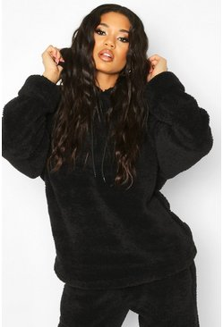 Borg Turn Cuff Oversized Hoodie, Black, ЖЕНСКОЕ