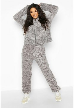 Womens Grey Borg Oversized Jogger