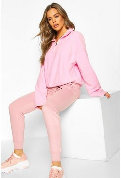 Blush Fleece Funnel Neck Pocket Sweat Crop