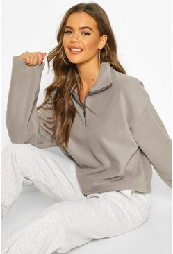 Grey Fleece Funnel Neck Pocket Sweat Crop