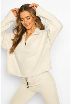 Womens Sand Fleece Funnel Neck Pocket Sweat Crop