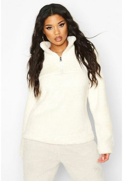 Borg Zip Funnel Oversized Sweat Top, Ivory, Donna