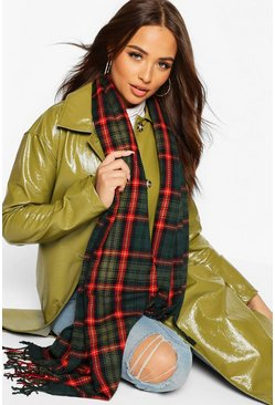Oversized Check Scarf, Green