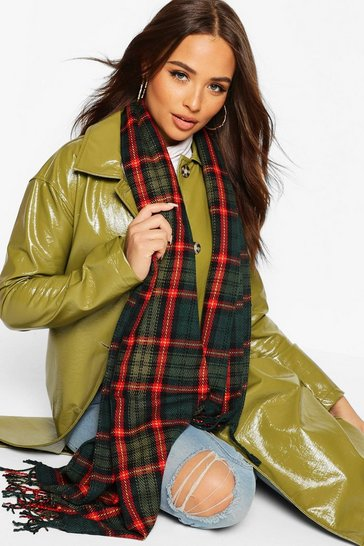 Womens Green Oversized Check Scarf