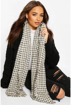 Oversized Knitted Check Scarf, Cream, Femme