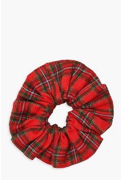 Red Tartan Check Scrunchie