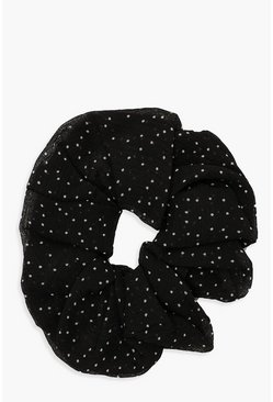 Womens Black Polka Dot Mesh Scrunchie