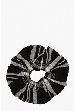 Womens Black Check Scrunchie
