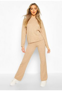 Soft Yarn Blend Jumper & Trouser Set, Camel