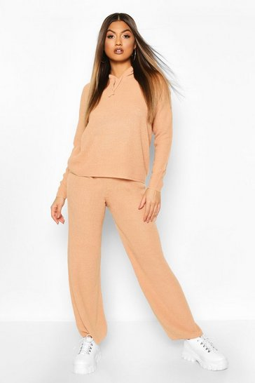 Womens Camel Knitted Loose Fit Hooded Co-ord