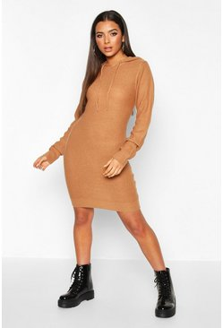 Womens Camel Long Sleeve Knitted Dress With Hood