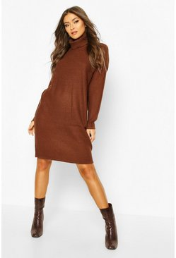 Ribbed Polo Neck Knitted Dress, Brown