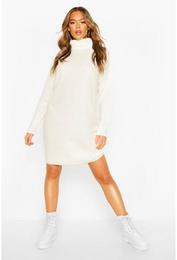 Dam Ivory Ribbed Polo Neck Knitted Dress