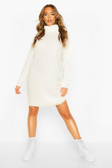 Womens Ivory Ribbed Polo Neck Knitted Dress