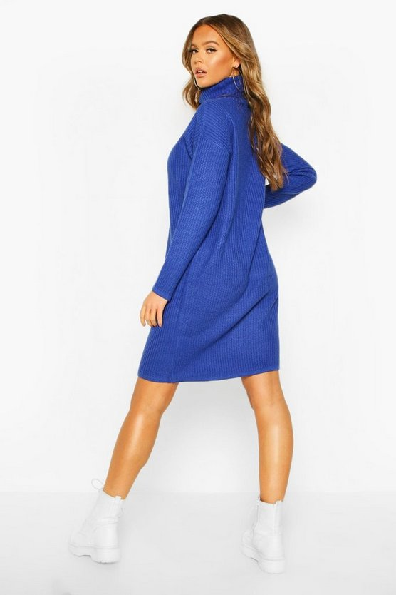 Ribbed Polo Neck Knitted Dress