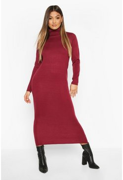 Long Roll Neck Jumper Dress, Berry