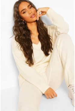 Ivory Knitted V Neck Jumper Set