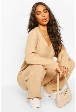Sand Knitted V Neck Jumper Set