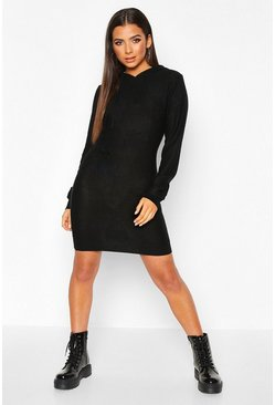 Long Sleeve Knitted Dress With Hood, Black, Femme