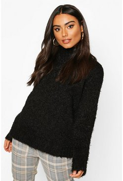Womens Black Feather Yarn Turtle Neck Jumper