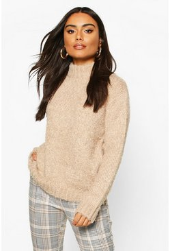 Feather Yarn Turtle Neck Jumper, Camel