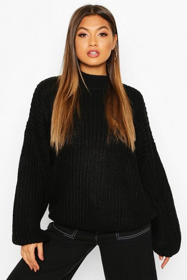 Black Oversize Bell Sleeve Jumper