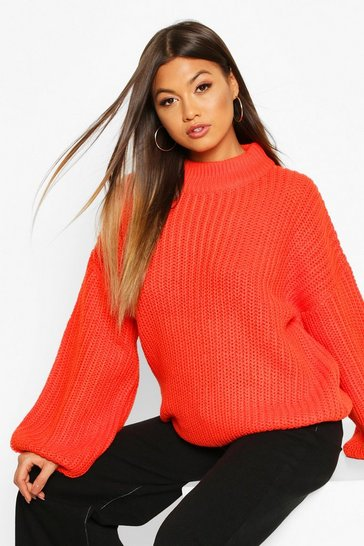 Womens Orange Oversize Bell Sleeve Jumper