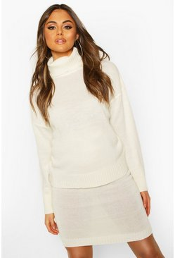 Womens Ivory Knitted Skirt & Roll Neck Jumper Set