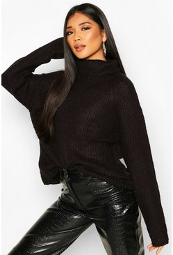 Black Loose Roll Neck Jumper