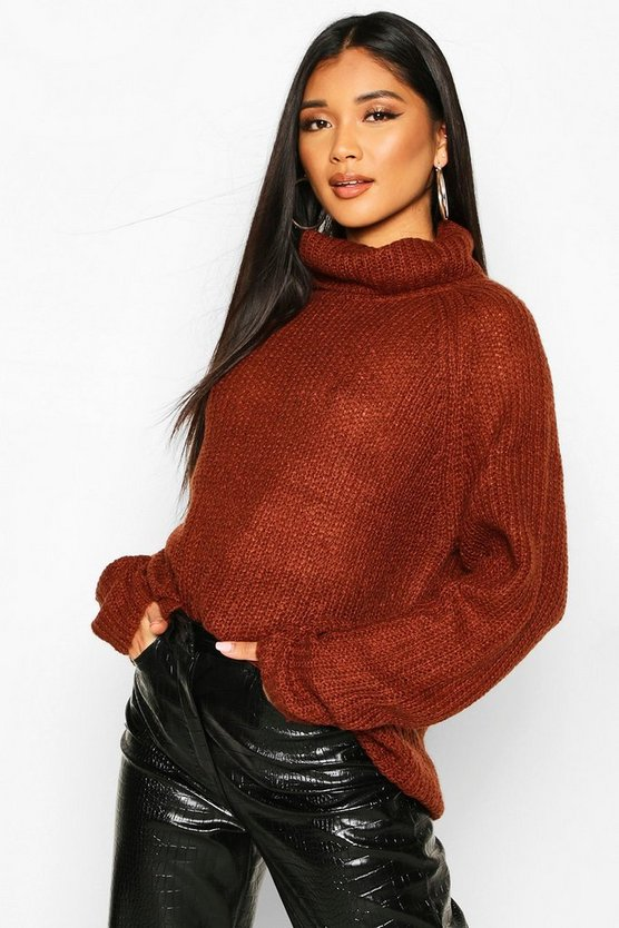 Brown Loose Roll Neck Jumper