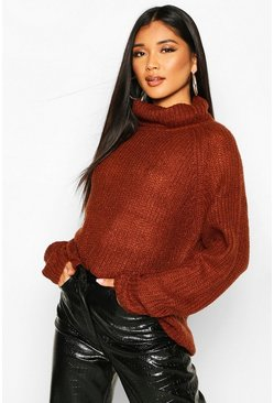 Loose Roll Neck Jumper, Brown