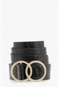 Double Ring Croc Print Buckle Belt, Black