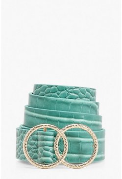 Double Ring Croc Print Buckle Belt, Blue