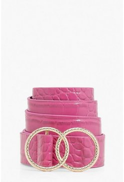 Womens Pink Double Ring Croc Print Buckle Belt