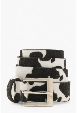 Black Cow Print Buckle Belt