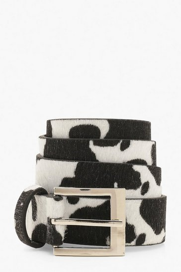 Womens Black Cow Print Buckle Belt