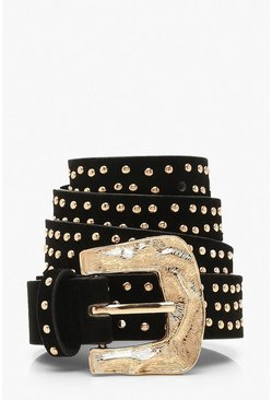 Studded Suedette Buckle Belt, Black, Donna