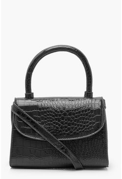 Black Patent Croc Structured Cross Body Bag