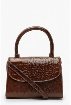 Patent Croc Structured Cross Body Bag, Chocolate