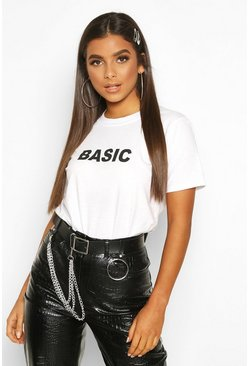 Womens White Basic Slogan T-Shirt