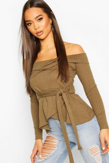 Khaki Rib Cross Over Long Sleeve Tie Waist Top