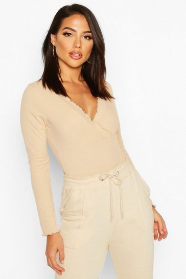 Womens Camel Lettuce Hem Ribbed Wrap Over Body