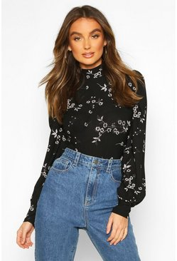 Womens Black Floral High Neck Long Puff Sleeve Bodysuit