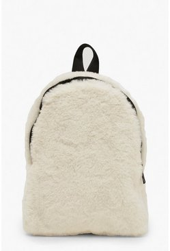 Faux Fur Sports Strap Rucksack, Cream, ЖЕНСКОЕ