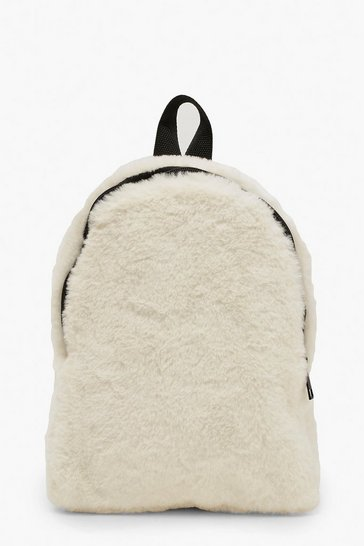 Womens Cream Faux Fur Sports Strap Rucksack
